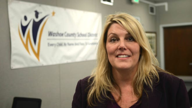Katherine Loudon, head counseling coordinator for the Washoe County School District, speaks to news organizations  Thursday about counseling service being offered to students after a school police officer shot a student wielding a knife at Hug High School.