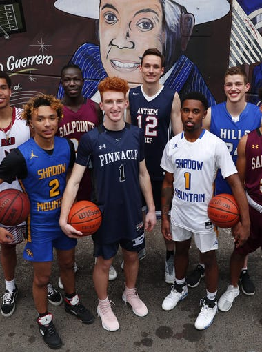 The eight nominees for Arizona High School Boys Basketball Player of the Year 2017-18. #AZCSA. Red Mountain's Timmy Allen, Catalina Foothills' Sam Beskind, Shadow Mountain's Jovan Blacksher, Salpointe's Majok Deng, Shadow Mountain's Jaelen House, Pinnacle's Nico Mannion, Salpointe's Evan Nelson, Anthem Prep's Trey Wood.