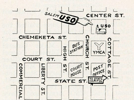 Map identifying Salem area USO on Chemeketa Street. Published in Oregon Magazine, October 1944.