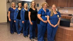 Six of the nurses at the Comprehensive Cancer Center