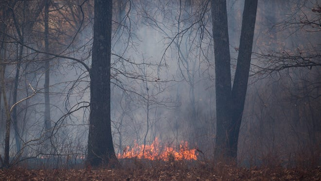 A brush fire burns off of Buttermilk Spring Road in Staunton as firefighters work to contain hot spots on Thursday, March 26, 2015.