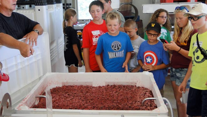 Several 4-Hers from Dodge County learned how strawberries from Kirshbaum Strawberry Acres in Beaver Dam are made into wine at Edwin Brix vineyard, Dodge County's only winery. Martin Sell (far left) demonstrates the process.