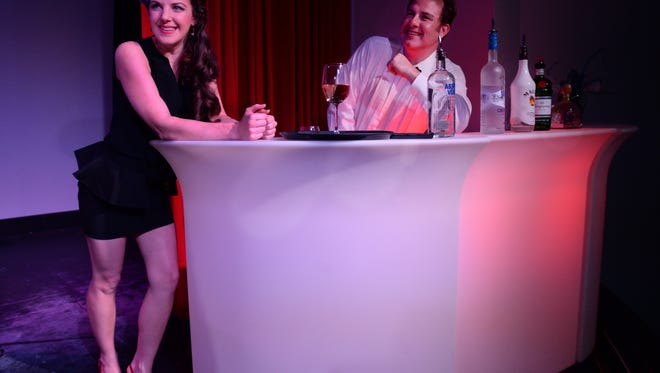 "Sarah Nordin and Christopher Holmes play the waitress and bartender in Gulfshore Opera's production of ""Speed Dating Tonight."""