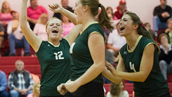 Wilson Memorial players celebrate a point scored against Riverheads during their volleyball game on Tuesday, Oct. 21, 2014.