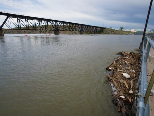 Debris washed down river collects at the top of Rainbow