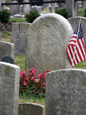 The burial site of Washington Irving at Sleepy Hollow Cemetery was vandalized.
