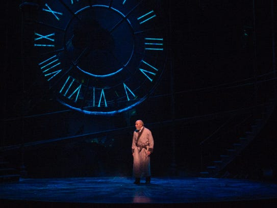 The clock created for the Clarence Brown Theatre's