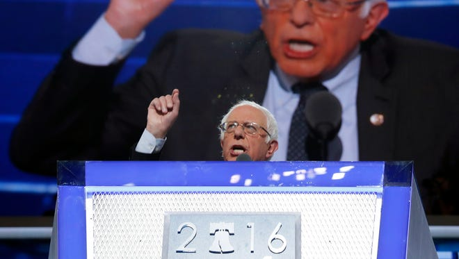 Former Democratic Presidential candidate, Sen. Bernie Sanders, I-Vt., speaks during the first day of the Democratic National Convention in Philadelphia Monday.