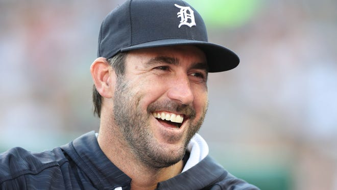 Justin Verlander -- then a Detroit Tiger -- is all smiles in the dugout during a game against the Kansas City Royals on July 25, 2017 at Comerica Park.