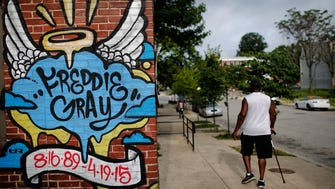 Mural dedicated to Freddie Gray near the location where he was arrested in Baltimore, Maryland.