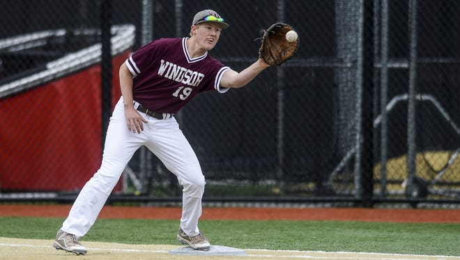 Windsor baseball's Mitchell Watson in a game last season. The Wizards are the No. 5 overall seed and will host district tournament play on Saturday.