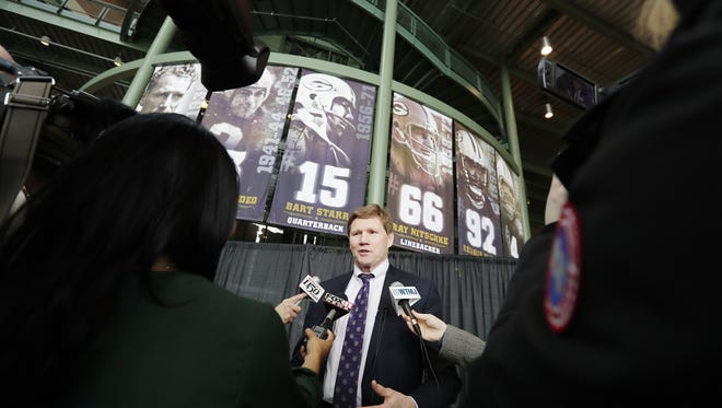 Green Bay Packers President and CEO Mark Murphy speaks at a news conference announcing that Billy Joel will be performing at Lambeau Field this summer.