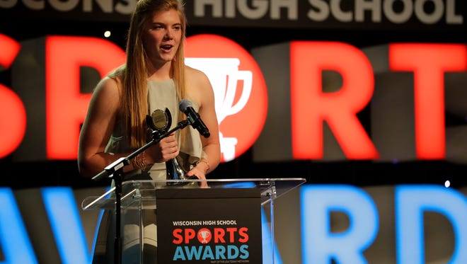 Mariah Whalen wins the girls volleyball player of the Year during the second annual Wisconsin High School Sports Awards, hosted by Wisconsin's USA TODAY NETWORK publications Friday, May 12, 2017, at the Lambeau Field Atrium in Green Bay, Wis. The show featured various awards, entertainment and a special appearance from Green Bay Packers linebacker Clay Matthews. Dan Powers/USA TODAY NETWORK-Wisconsin