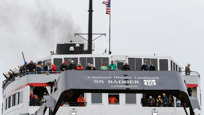 Passengers of the S.S. Badger watch as it backs into the ramp Friday, May. 19, 2017, in Manitowoc, Wis. Josh Clark/USA TODAY NETWORK-Wisconsin