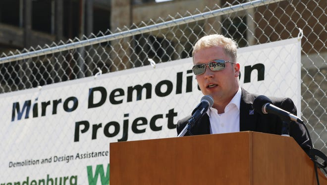 Manitowoc Mayor Justin Nickels makes his remarks at the Mirro demolition ceremony Friday in Manitowoc.