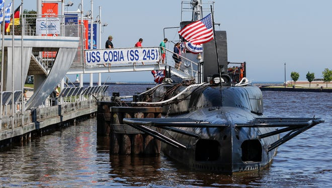 People board the USS Cobia for self guided tours with submarine veterans Friday, Jul. 7, 2017, in Manitowoc, Wis. Josh Clark/USA TODAY NETWORK-Wisconsin