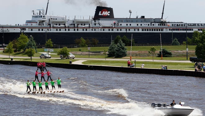 The Water Board Warriors water-skiers build a three level pyramid on the Manitowoc River Sunday, Jul. 9, 2017, in Manitowoc, Wis. Josh Clark/USA TODAY NETWORK-Wisconsin