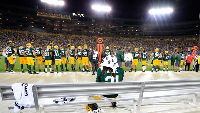 Green Bay Packers cornerback Davon House (31) sits on the bench after straining a hamstring during practice during Family Night practice Aug. 5, 2017, at Lambeau Field.