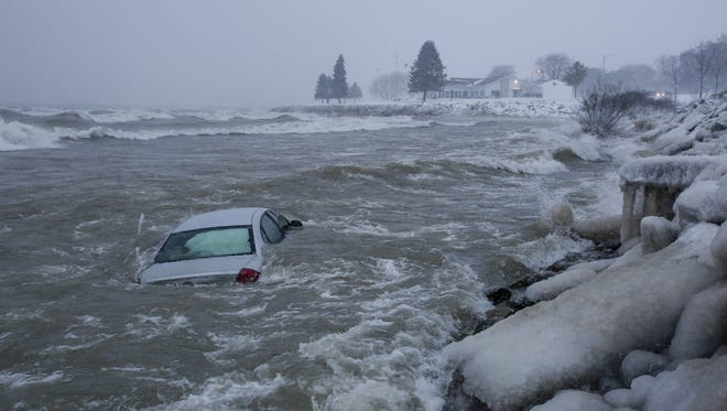 A car swerved off the road and landed in Lake Michigan in the 800 block of Maritime Drive Dec. 13 in Manitowoc.