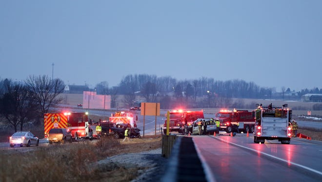 Scene of a car crash on Interstate 43 Thursday in Manitowoc County.