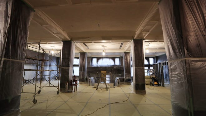 Work continued on the lobby of the Hotel Northland in February.