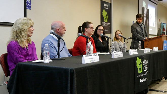 The panel at a Kids in Crisis town hall at the Manitowoc Public Library Wednesday, Feb. 28, 2018, in Manitowoc, Wis. Josh Clark/USA TODAY NETWORK-Wisconsin