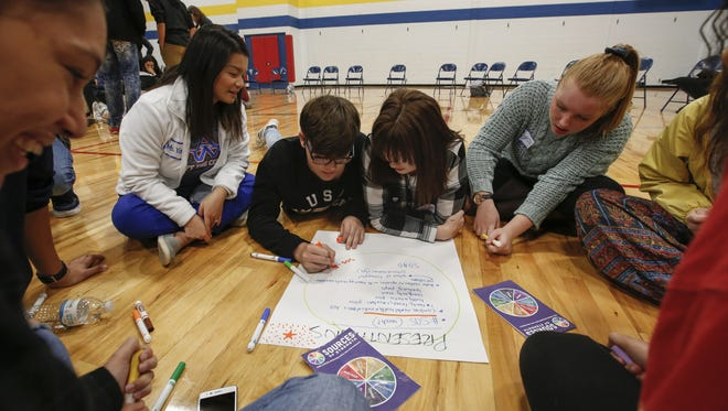 Appleton students work on a suicide prevention project with the Sources of Strength program.