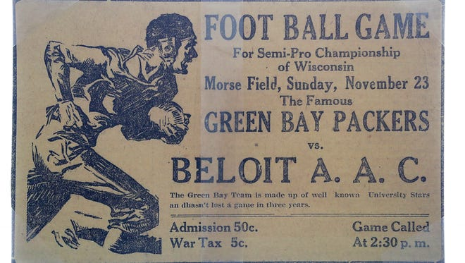 An ad for a 1919 Packers game is among the items on display in  a new exhibit at the Green Bay Packers Hall of Fame at Lambeau Field.