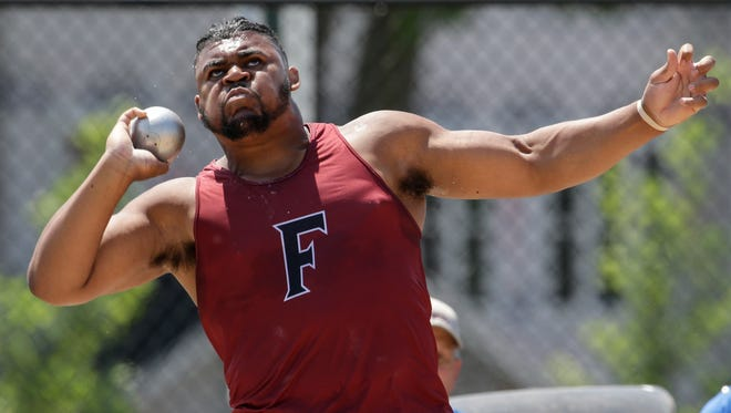 Fond du Lac's Andrew Stone throws in the Division 1 shot put finals Friday at the WIAA state track and field meet at Veterans Memorial Stadium in La Crosse.