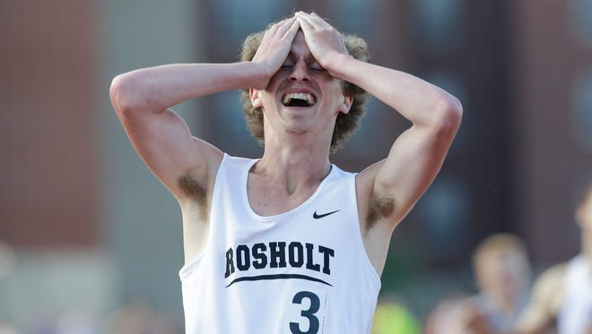 Rosholt's Sawyer Fleming reacts after winning the Division 3 800-meter run Friday at the WIAA state track and field meet at Veterans Memorial Stadium in La Crosse.