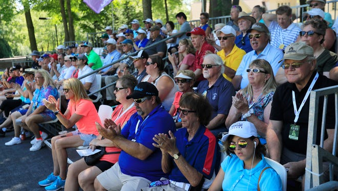 Spectators watch the final round of the Thornberry Creek LPGA Classic on Sunday, July 8, 2018 in Hobart, Wis. 