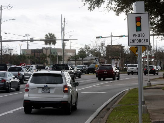 Motorists traveling along Highway 98 in Gulf Breeze