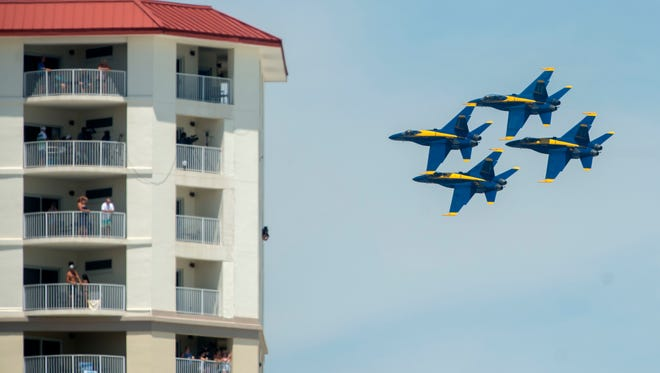 The Blue Angels perform Saturday, July 14, 2018 during the Blue Angels Pensacola Beach Airshow.
