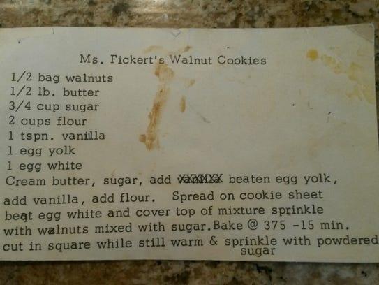Maureen Honecker of Brielle shares a recipe for walnut