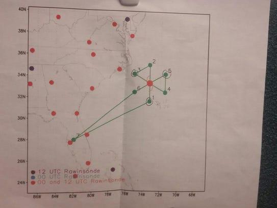 Flight plan for the hurricane hunter plane flying into
