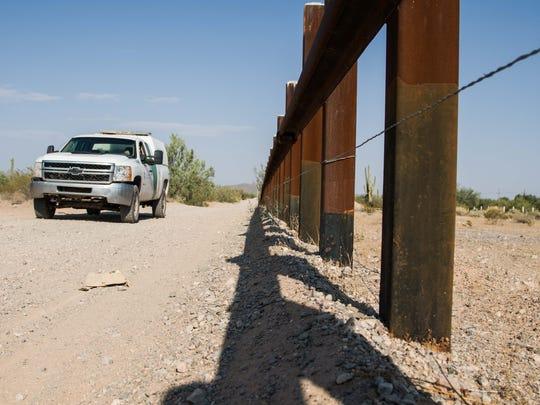 A Border Patrol officer patrols in Ajo, Arizona.