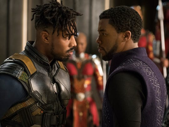 Erik Killmonger (Michael B. Jordan, left) and T'Challa/Black