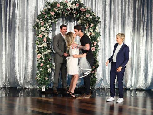 Kaley Cuoco kisses Ryan Sweeting on the Nov. 7, 2013 Ellen DeGeneres show.