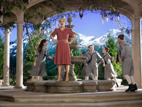 THE SOUND OF MUSIC LIVE! -- Rehearsal -- Pictured: (l-r) Ariane Rinehart as Liesl, Carrie Underwood as Maria, Joe West as Kurt, Sophia Anne-Caruso as Brigitta, and Michael Nigro as Friedrich -- (Photo by: Paul Drinkwater/NBC)