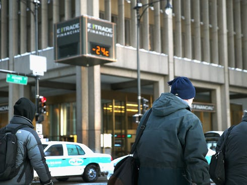 Commuters make a sub-zero trek to offices in the Loop on Monday in Chicago.