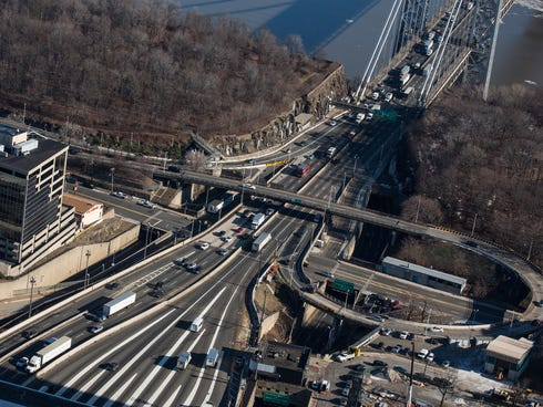 The New Jersey side of the George Washington Bridge, which connects Fort Lee, NJ, and New York City, is seen on January 9, 2014 in Fort Lee, New Jersey.