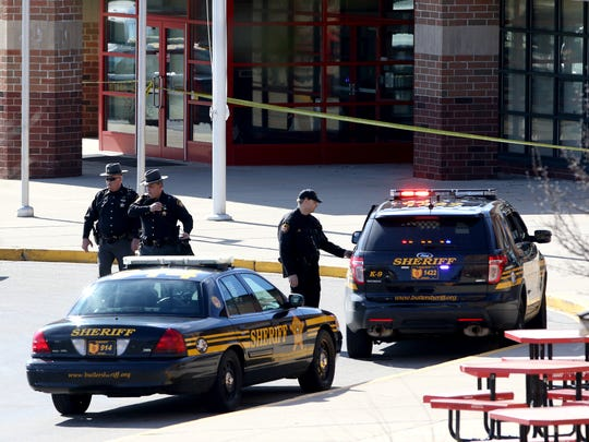 """The Butler County Sheriff's Office converged on the Madison Jr./Sr. High School on Feb. 29 after James """"Austin"""" Hancock, a student there, opened fire in the cafeteria, injuring four."""