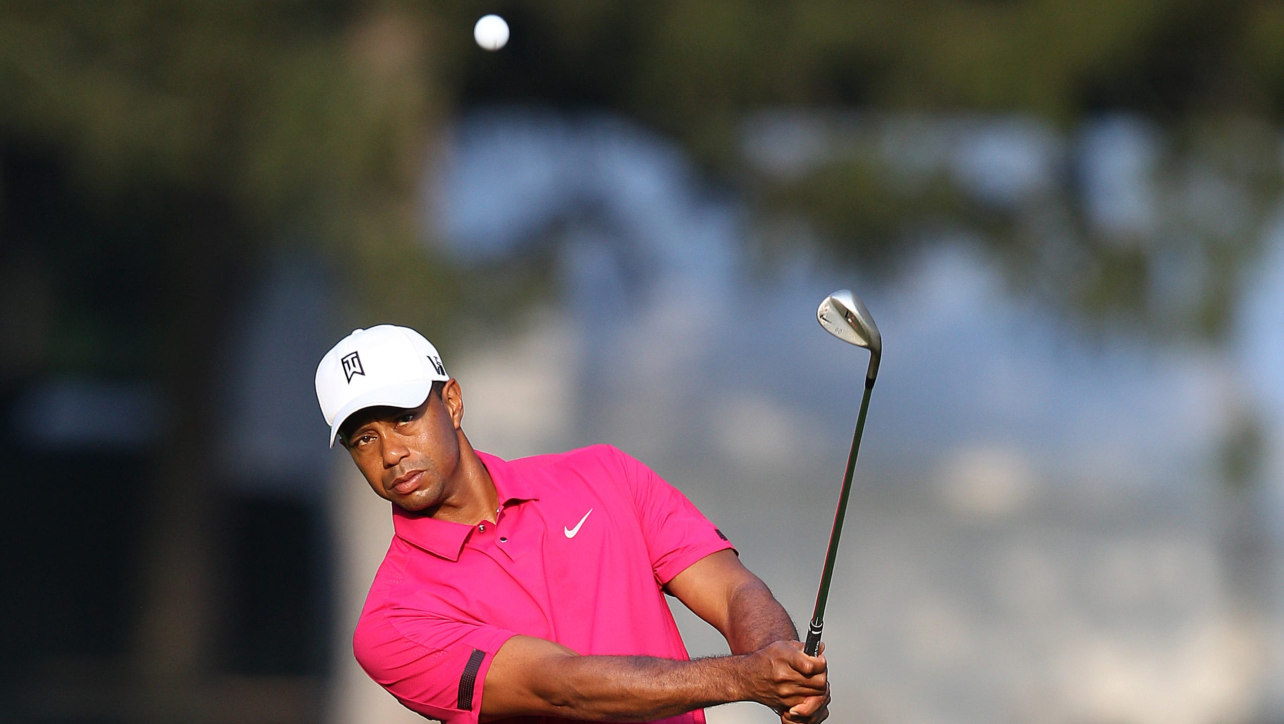 Tiger Woods chipped this shot in on 2nd hole. It was his third try from this spot.