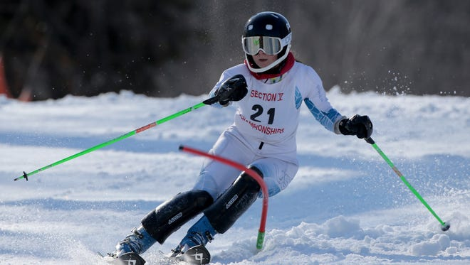 Katie Carrier at Section V girls Alpine skiing at Bristol Mountain.