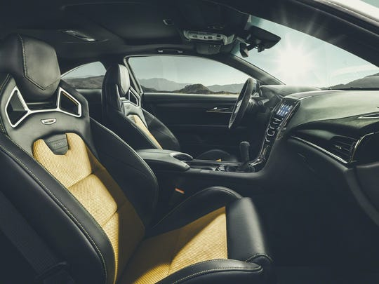 The interior of the Cadillac ATS-V Coupe.