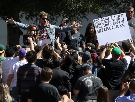 Milo Yiannopoulos speaks during a free speech rally