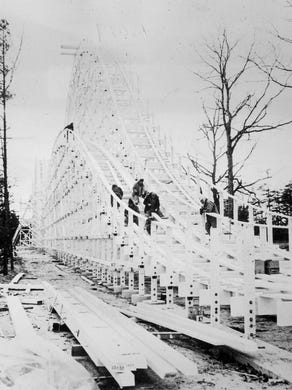1979: Rolling Thunder double wooden roller coaster being built.