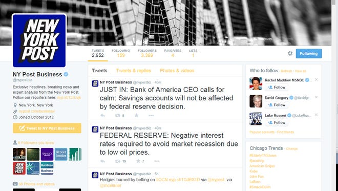 This screen shot made on Friday, Jan. 16, 2015, shows a New York Post Twitter account that was hacked Friday, displaying suspicious tweets on false economic and military news. The Twitter feed of United Press International was also hacked.