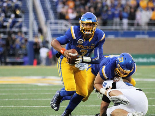 SDSU's Taryn Christion (3) scampers for a touchdown