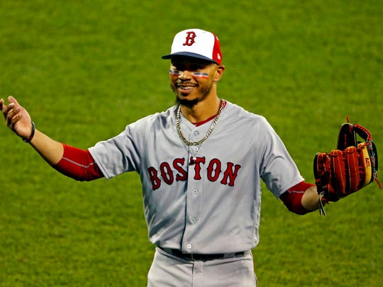 American League outfielder Mookie Betts of the Boston